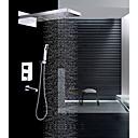 זול ברזים למקלחת-עכשווי מותקן על הקיר מפל מים מקלחת גשם שפורפרת יד כלולה שסתום קרמי שתי ידיות ארבעה חורים כרום, ברז למקלחת