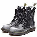 cheap Men's Boots-Men's Combat Boots Cowhide Spring / Fall Vintage Boots Mid-Calf Boots Black / Gray / Brown