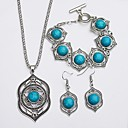 cheap Men's Earrings-Turquoise Jewelry Set - Turquoise Simple, Ethnic Include Drop Earrings / Necklace Green For Daily