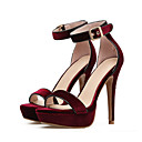 cheap Women's Boots-Women's Shoes Nubuck leather Spring / Summer Comfort / Novelty Sandals Stiletto Heel Open Toe Bowknot / Buckle Black / Red