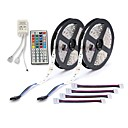 billige LED Strip Lamper-zdm 2x5m 150x5050 rgb led strip lys 44key ir controller med 4 kontakter rgb cuttable selvklebende