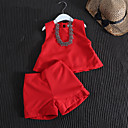 cheap Girls' Clothing Sets-Toddler Girls' Casual Daily Solid Colored Sleeveless Regular Cotton / Bamboo Fiber / Spandex Clothing Set Red 2-3 Years(100cm)