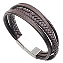 cheap Men's Bracelets-Men's Bracelet - Stainless Steel, Leather Fashion Bracelet Black / Coffee For Street / Going out