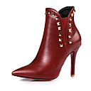 cheap Women's Boots-Women's Shoes Leatherette Spring / Fall Fashion Boots Boots Stiletto Heel Pointed Toe Booties / Ankle Boots Rivet Black / Red / Wine