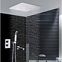 זול ברזים למקלחת-עכשווי התקנת קיר מקלחת גשם שפורפרת יד כלולה תרמוסטטי שסתום קרמי שתי ידיות ארבעה חורים כרום, ברז למקלחת