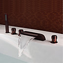 cheap Bathroom Sink Faucets-Bathtub Faucet - Antique Oil-rubbed Bronze Widespread Brass Valve / Three Handles Five Holes