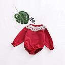 זול אוברולים טריים לתינוקות-חליפת גוף כותנה / פשתן / סיבי במבוק ללא שרוולים אחיד ספורט פשוט בנות תִינוֹק / פעוטות