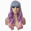 preiswerte Synthetische Perücken mit Spitze-Synthetische Perücken Wellen / Große Wellen Mit Pony Synthetische Haare Gefärbte Haarspitzen (Ombré Hair) Rosa / Lila Perücke Kappenlos