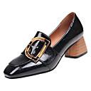זול נעלי אוקספורד לנשים-PU אביב נוחות נעליים ללא שרוכים עקב עבה בוהן מרובעת שחור / בז'