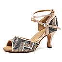 baratos Sapatos de Dança Moderna-Sapatos de Dança Latina Courino Têni Adorno Salto Agulha Personalizável Sapatos de Dança Amêndoa / Azul
