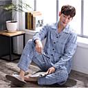 voordelige Schijnwerpers-Heren Ingesneden revers Kostuum Pyjama - Ruitjes