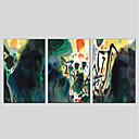 tanie Obrazy olejne-Hang-Malowane obraz olejny Ręcznie malowane - Abstrakcja Nowoczesny Naciągnięte płótka / Trzy panele / Rozciągnięte płótno