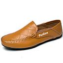 זול נעלי ספורט לגברים-בגדי ריקוד גברים מוקסין עור נאפה Leather אביב / סתיו נוחות נעליים ללא שרוכים לבן / שחור / חום / מסיבה וערב