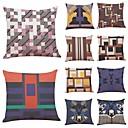 baratos Artigos para Cílios-10 blocos pçs Linho Cobertura de Almofada, Geométrica Art Deco Xadrez