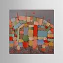 זול ציורי שמן-ציור שמן צבוע-Hang מצויר ביד - מופשט עכשווי / פשוט / מודרני כלול מסגרת פנימית / בד מתוח