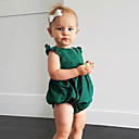 cheap Baby Girls' One-Piece-Baby Girls' Daily Solid One-Pieces, Cotton Linen Bamboo Fiber Acrylic Spring Simple Sleeveless Green