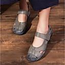 זול נעלי עקב לנשים-בגדי ריקוד נשים נעליים עור אביב / סתיו נוחות שטוחות עקב נמוך אפור / כחול / Wine