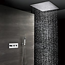 abordables Grifos de Bañera-ducha de lluvia contemporánea montada en la pared ducha de mano incluida válvula de cerámica termostática tres manijas tres agujeros cromados, grifo