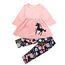 tanie Zestawy ubrań dla dziewczynek-Brzdąc Dla dziewczynek Casual Święto Kwiaty / Nadruk / Zwierzę Z marszczeniami Długi rękaw Długie Długie Bawełna Komplet odzieży / Śłodkie