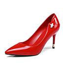 זול נעלי עקב לנשים-בגדי ריקוד נשים נעליים עור פטנט אביב / קיץ נוחות עקבים עקב סטילטו בוהן מחודדת ריינסטון שחור / אדום / מסיבה וערב