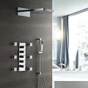 זול ברזים למקלחת-ברז למקלחת - עכשווי כרום מותקן על הקיר שסתום קרמי