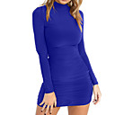 cheap Women's Heels-Women's Going out Basic Street chic Bodycon Sheath Dress - Solid Color Blue Mini Crew Neck