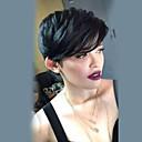 olcso Sapka nélküli-Emberi hajszelet nélküli parókák Emberi haj Egyenes Réteges frizura Pixie frizura Oldalsó rész Géppel készített Paróka