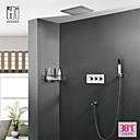 זול ברזים למקלחת-עכשווי מותקן על הקיר מקלחת גשם שפורפרת יד כלולה תרמוסטטי שסתום קרמי שלוש ידיות ארבעה חורים כרום, ברז למקלחת
