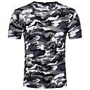 abordables Cañas de Pesca-Hombre Algodón Camiseta, Escote Redondo Un Color