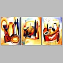 cheap Framed Oil Paintings-Oil Painting Hand Painted - Abstract Comtemporary Stretched Canvas / Three Panels