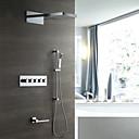 billige Badekraner-moderne veggmontert regndusj hånddusj inkludert termostatisk keramisk ventil fem håndtak åtte hulls krom, dusjkran