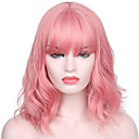 cheap Synthetic Capless Wigs-Synthetic Wig Water Wave Kardashian Style With Bangs Capless Wig Pink Pink Synthetic Hair Women's Natural Hairline / With Bangs Pink Wig Short