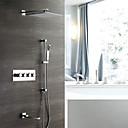 billige Badekraner-moderne veggmontert regndusj hånddusj inkludert termostatisk keramisk ventil fire håndtak fem hull krom, dusj kranen