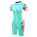cheap Cycling Underwear & Base Layer-Malciklo Women's Short Sleeve Triathlon Tri Suit - Mint Green Bike Breathable Anatomic Design Reflective Strips Sweat-wicking Sports Polyester Spandex Coolmax® Geometry Clothing Apparel / Lycra