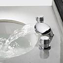 halpa Kylpyhuoneen lavuaarihanat-Nykyaikainen Integroitu Vesiputous Keraaminen venttiili Kaksi kahvaa kolme reikää Kromi, Kylpyhuone Sink hana