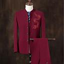 お買い得  チョーカーネックレス-男性用 スーツ スタンド ノッチドラペル ソリッド 刺繍