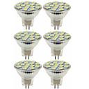 preiswerte LED Glühbirnen-SENCART 6pcs 5W / 80W 260lm MR11 LED Spot Lampen MR11 15 LED-Perlen SMD 5060 Dekorativ Warmes Weiß / Kühles Weiß 12V