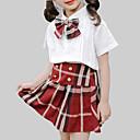 זול שמלות לבנות-סט של בגדים חוטי זהורית קיץ שרוולים קצרים יומי בית הספר משובץ בנות יום יומי סגנון רחוב לבן