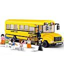baratos Blocos de Montar-Sluban Blocos de Construir 382 pcs Veículos Ônibus Escola Legal Tamanho Grande Ônibus Para Meninos Para Meninas Brinquedos Dom