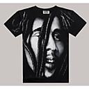baratos Camisetas para Trilhas-Homens Camiseta Básico / Moda de Rua Geométrica Algodão Decote Redondo / Manga Curta