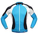 tanie Siodełka-SANTIC Męskie Długi rękaw Koszulka rowerowa - Niebieski / Biały Jednokolorowe Rower Dżersej, Oddychalność Zdatny do noszenia Wysoka elastyczność, Jesień, Elastyna / Atrament importowany z Włoch