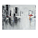 cheap Abstract Paintings-STYLEDECOR Modern Hand Painted Abstract Urban Pedestrian Oil Painting on Canvas for Living Room Bedroom
