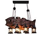 tanie Żyrandole-6 świateł Przemysłowy Lampy widzące Światło rozproszone Malowane wykończenia Drewno / Bambus Styl MIni 110-120V / 220-240V Nie zawiera żarówek / FCC / E26 / E27
