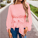 cheap Historical & Vintage Costumes-Women's Going out Basic Slim Blouse - Solid Colored