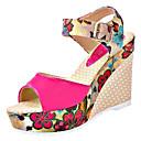 ieftine Sandale de Damă-Pentru femei Pantofi PU Vară Confortabili Sandale Toc Platformă Vârf rotund Bej / Fucsia / Albastru / Tocuri de toc