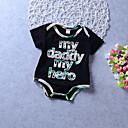 baratos Blusas para Meninas-Unisexo Diário Feriado Estampado Estampa Colorida Blusa, Algodão Poliéster Primavera Verão Manga Curta Activo Básico Preto