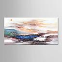 billige Abstrakte malerier-Hang malte oljemaleri Håndmalte - Abstrakt / Landskap Moderne Uten Indre Ramme / Valset lerret