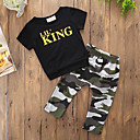 cheap Boys' Clothing Sets-Boys' Daily Sports Print Clothing Set, Cotton Polyester Summer Short Sleeves Simple Casual Black
