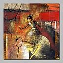 tanie Pejzaże-Hang-Malowane obraz olejny Ręcznie malowane - Abstrakcja / Ludzie Klasyczny Brezentowy / Rozciągnięte płótno