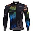 tanie Stroje rowerowe-SPAKCT Męskie Długi rękaw Koszulka rowerowa - Czarny Reactive Drukuj Pasek Graficzny Rower Dżersej, Szybkie wysychanie Elastyna Poliester / Elastyczny / Zaawansowany / Expert / Zamek YKK